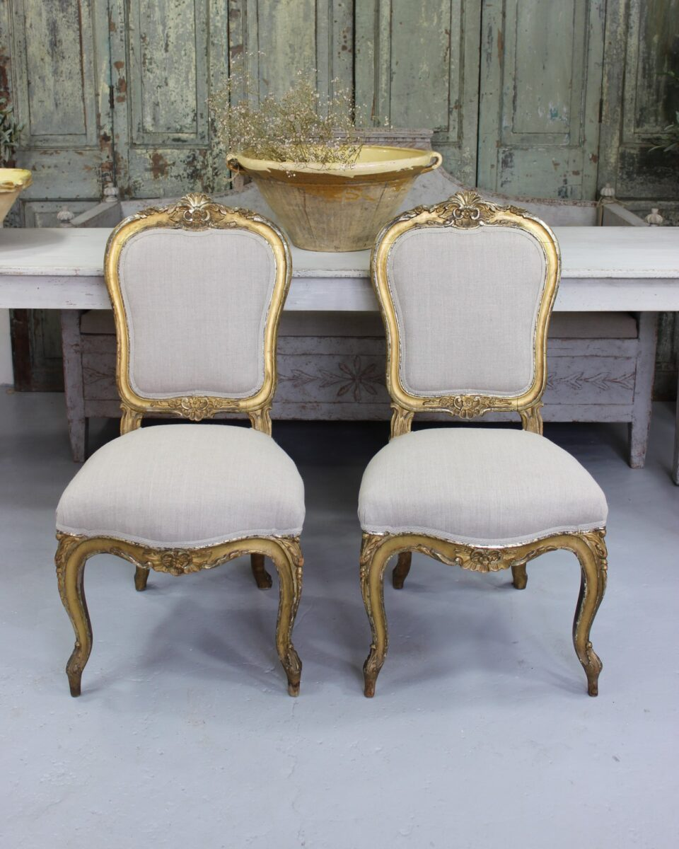 Pair Of Beautiful Antique French Rococo Chairs From The Mid 19th